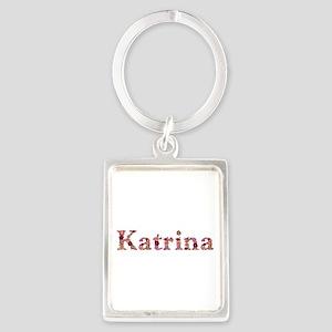 Katrina Pink Flowers Portrait Keychain