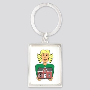 Real estate agent holding house Keychains