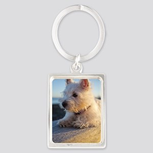 West Highland Terrier puppy on w Portrait Keychain