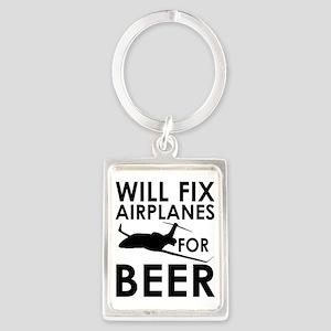 Airplanes Beer Portrait Keychain