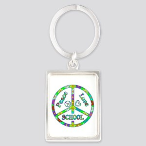 Peace Love School Portrait Keychain