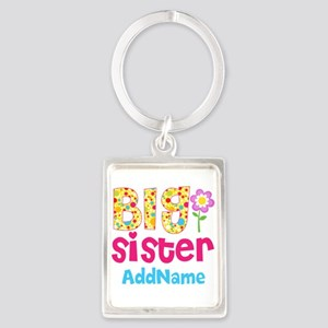 Big Sister Pink Teal Floral Pers Portrait Keychain