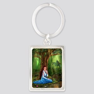 Medieval Lady and Knight Portrait Keychain