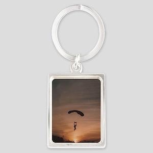 Sunset Skydiver Portrait Keychain
