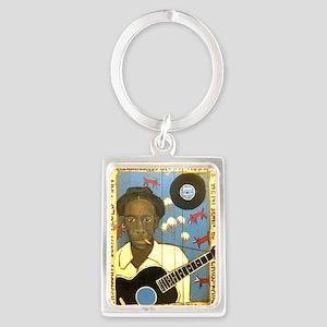 Robert Johnson Hell Hound On My  Portrait Keychain