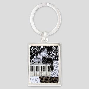 keyboard-sitting-cat-ornament Portrait Keychain