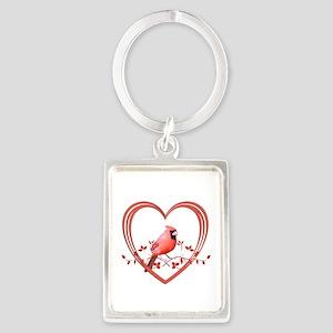 Cardinal in Heart Portrait Keychain