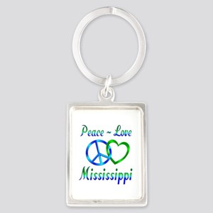 Peace Love Mississippi Portrait Keychain