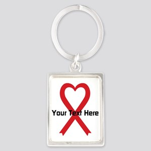Personalized Red Ribbon Heart Portrait Keychain