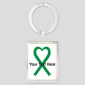 Personalized Green Ribbon Heart Portrait Keychain