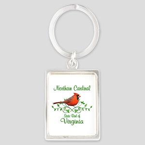 Cardinal Virginia Bird Portrait Keychain