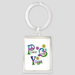 Peace Love Yoga Portrait Keychain