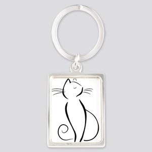 Line drawn black cat Keychains