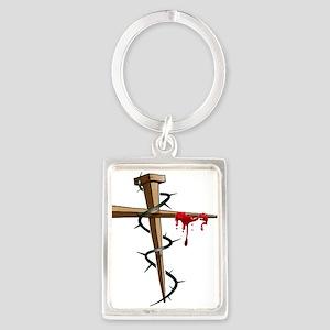 Nail Cross Portrait Keychain