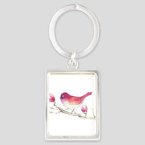 Pink Sparrow Bird on Magnolia Flower Bra Keychains
