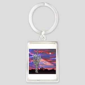 Christmas Lights Saguaro Cactus Silhouet Keychains