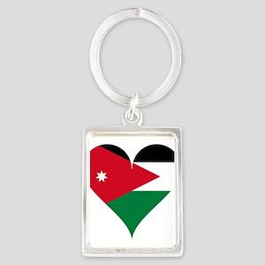 Heart Flag of Jordan Keychains