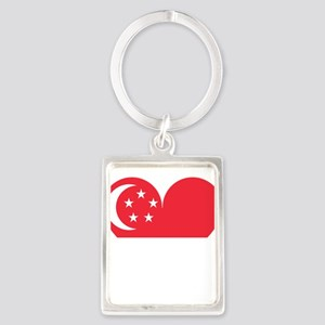 Heart Flag of Singapore Keychains