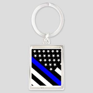 Police Flag: Thin Blue Line Portrait Keychain