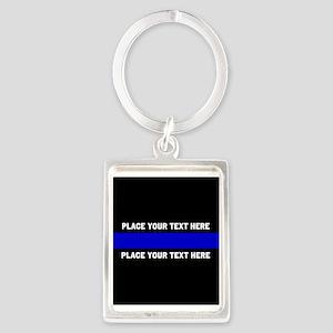 Thin Blue Line Customized Portrait Keychain