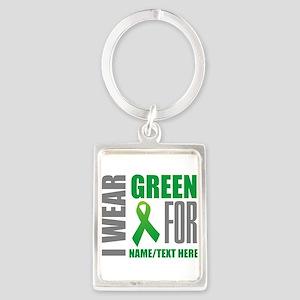 Green Awareness Ribbon Customize Portrait Keychain