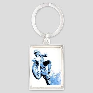 Blue Dirtbike Wheeling in Mud Keychains