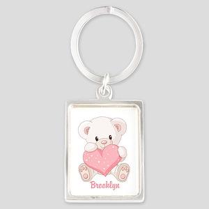 Custom name valentine bear Portrait Keychain