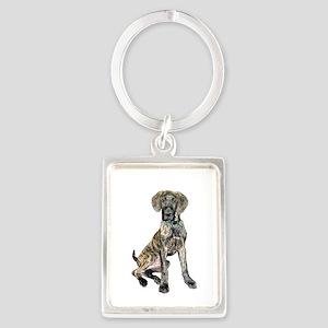 Brindle Great Dane Pup Portrait Keychain