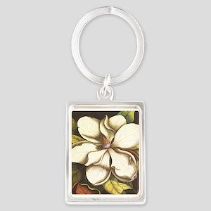 modern vintage fall magnolia flower Keychains