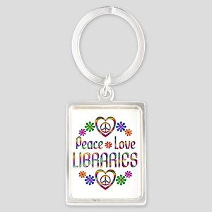 Peace Love Libraries Portrait Keychain