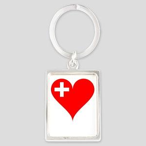 Heart Flag of Switzerland Keychains
