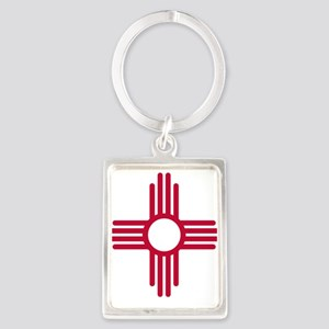 Red Zia NM State Flag Desgin Keychains