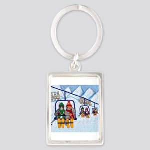 Cats Riding Ski Lift Portrait Keychain