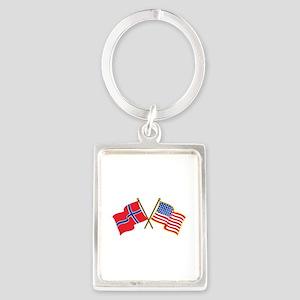 Norwegian American Flags Keychains