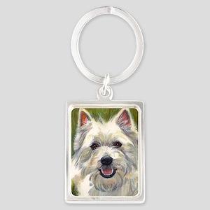 Happy Westie Portrait Keychain