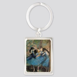 Dancers in blue by Edgar Degas Portrait Keychain