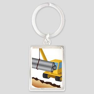 Construction Equipment Portrait Keychain