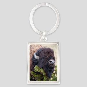 Christmas Bison Portrait Keychain