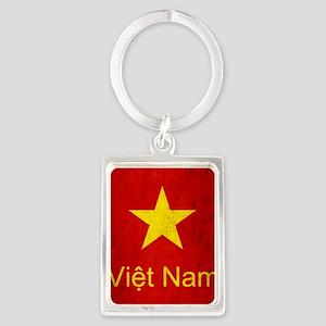 Grunge Vietnam Flag Portrait Keychain
