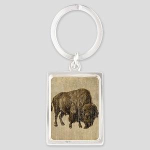 Vintage Bison Portrait Keychain