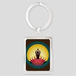 Sunrise Yoga Art Portrait Keychain