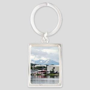 Lake Hood, Alaska, and mountains Keychains