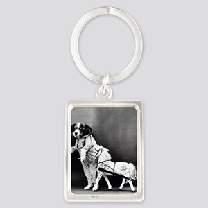 funny vintage dog cats photo Keychains