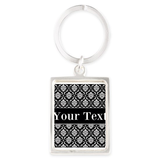 Personalizable Black White Damask