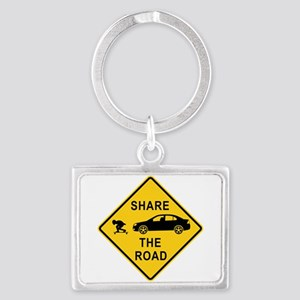share the road sign Landscape Keychain