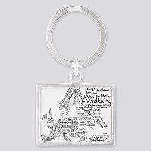 Food Map of Europe Landscape Keychain