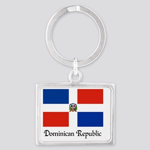 Dominican Republic Flag Design Landscape Keychain