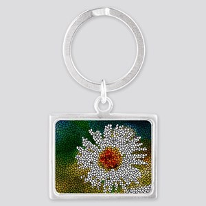 Stained Glass White Flower Landscape Keychain