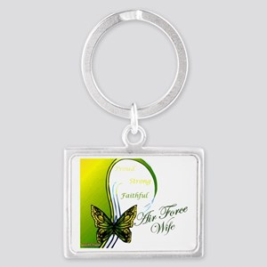 air force wife butterfly greeny Landscape Keychain