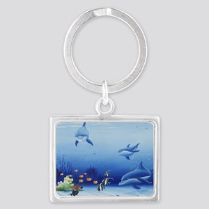 Three Friends Dolphins Landscape Keychain